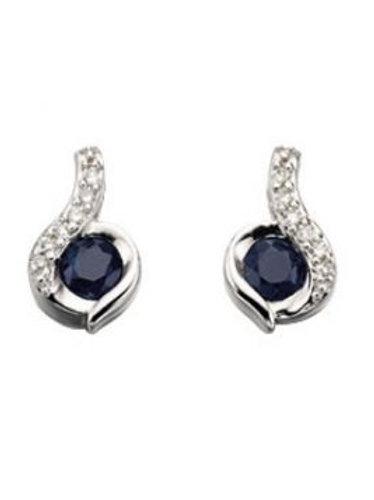 9ct White Gold Sapphire & Diamond Stud Earrings