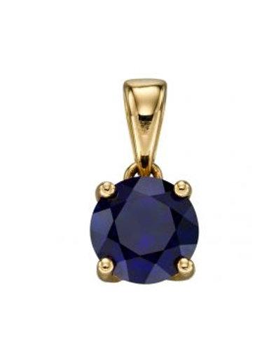 9ct Yellow Gold Sapphire September Birthstone Pendant
