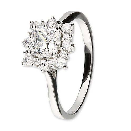 Silver Cushion Cut Cubic Zirconia Snowflake Cluster Ring