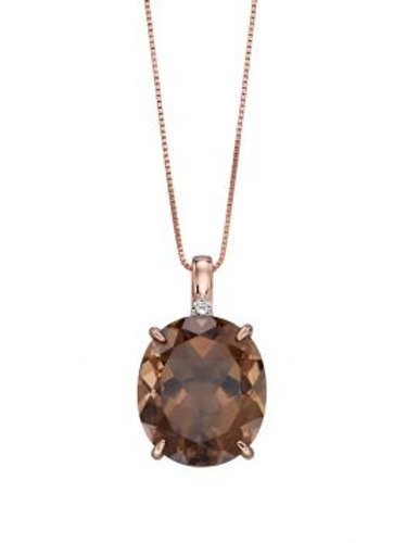 9ct Rose Gold Smoky Quartz & Diamond Necklace