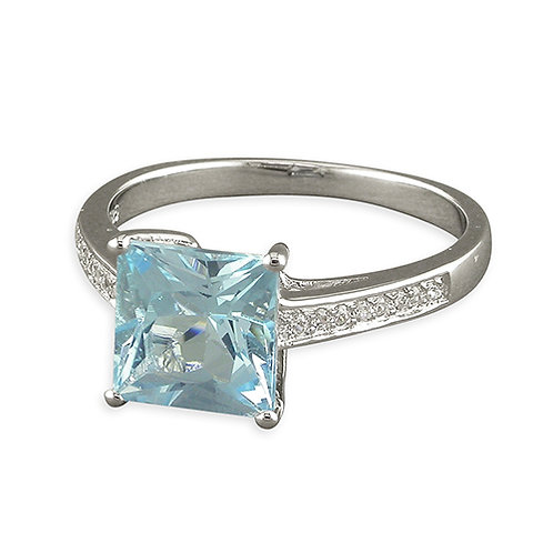 Princess Square Cut Blue Topaz Ring
