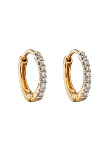 9ct Yellow Gold Diamond Huggie Hoops