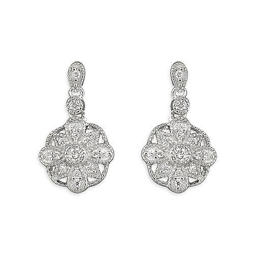 Silver Vintage Style Faux Diamond Drop Earrings