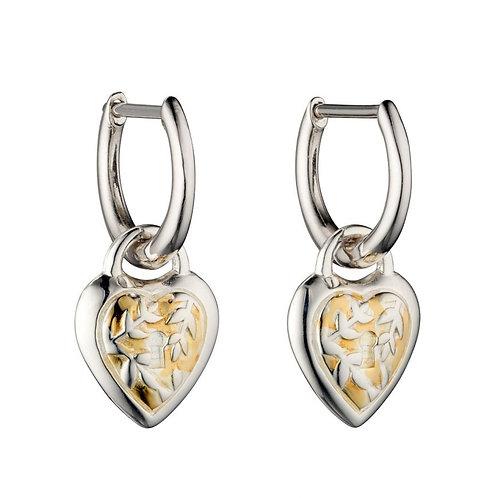 Silver heart lock design hoop drop earrings