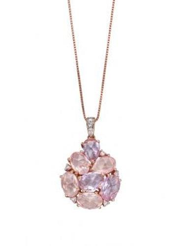 9ct Rose Gold Diamond Rose Quartz & Rose de France Amethyst
