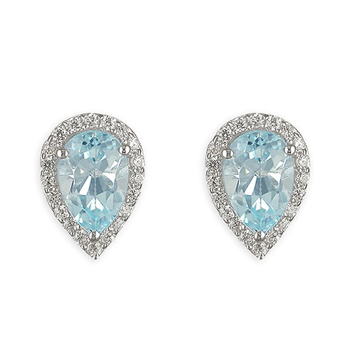 Teardrop Blue Topaz Halo Stud Earrings