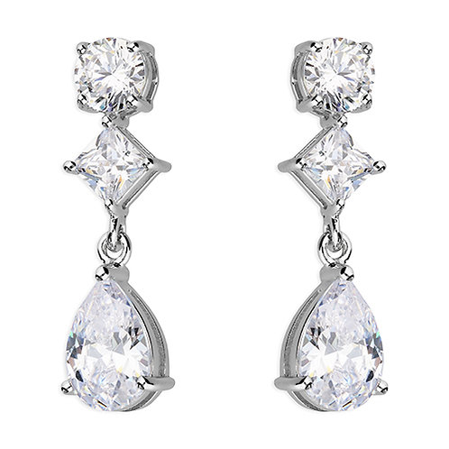 Silver Round Princess Pear Drop CZ Earrings