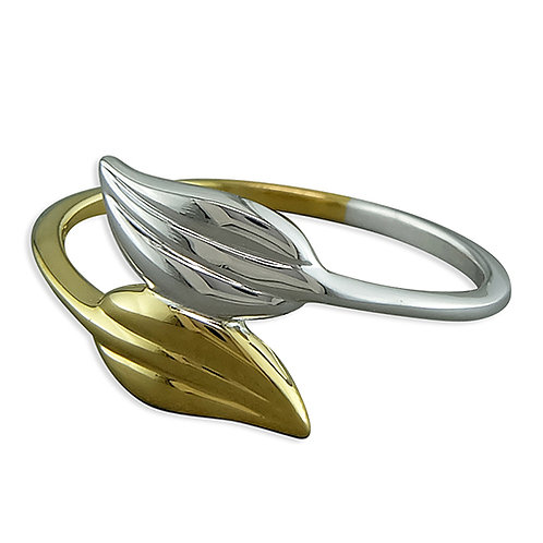 Two Tone Silver & Gold Leaf Design Ring