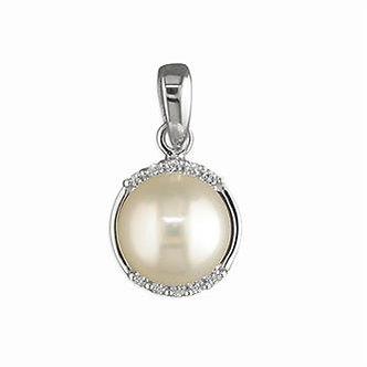 Silver CZ Freshwater Pearl Pendant