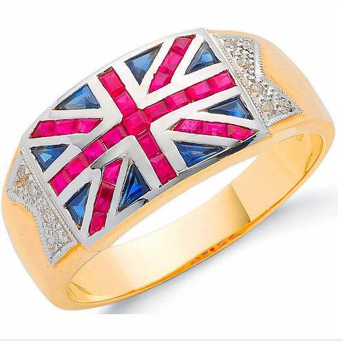 9ct Sapphire, Ruby & Diamond Union Jack Ring