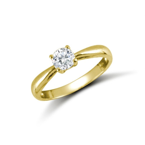 9ct Yellow Gold Round CZ Solitaire Ring