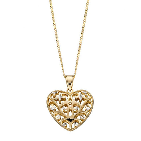 9ct Yellow Gold Heart Filigree Pendant Necklace