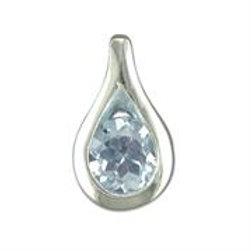 Silver Teardrop Blue Topaz Necklace
