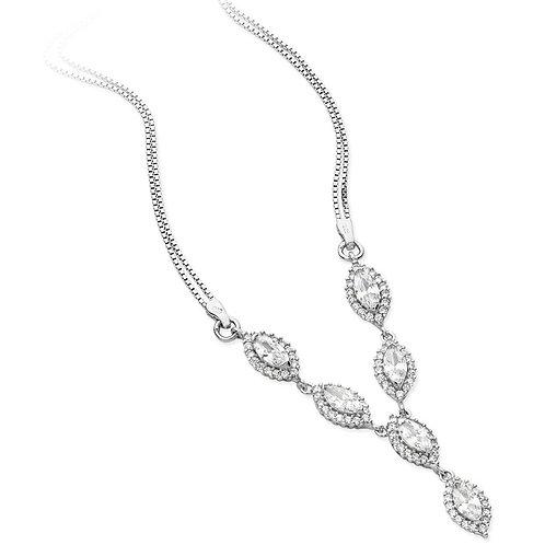 Silver Marquis CZ Halo Necklace