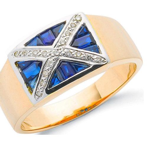 9ct Gold Sapphire & Diamond Scotland Flag Ring