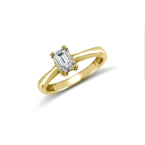 9ct Yellow Gold Emerald CZ Solitaire Ring