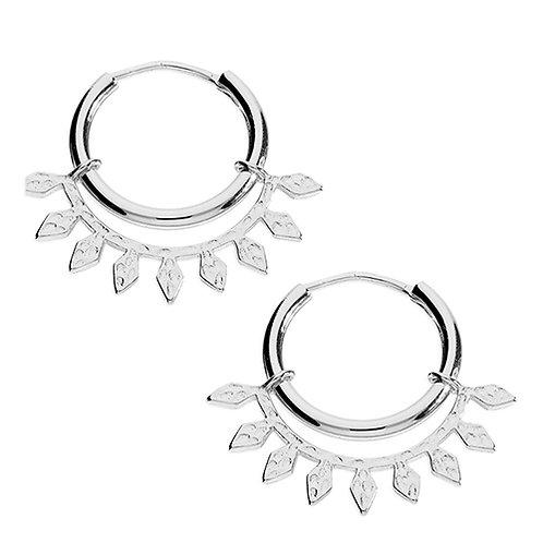 Silver Hoop Earrings With Leaf Design