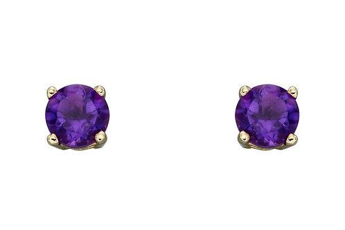 9ct Yellow Gold Amethyst February Birthstone Stud Earrings