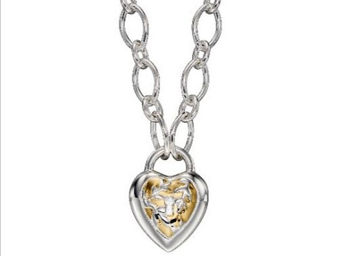 Silver chain necklace with heart lock design