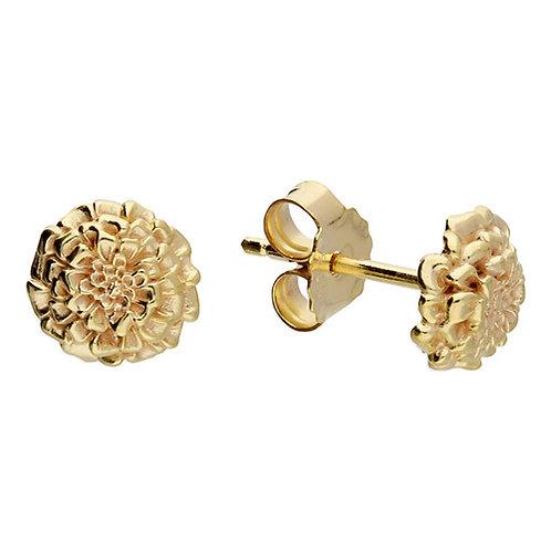 October Birthday Gold Marigold Flower Stud Earrings