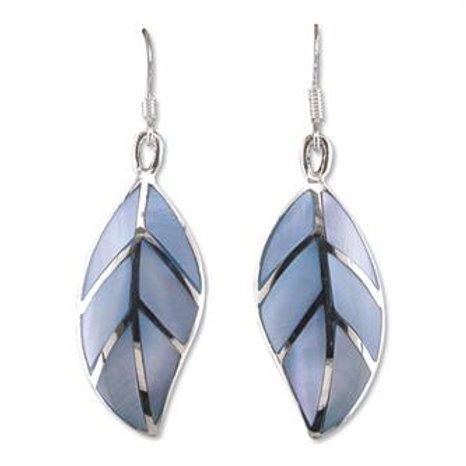 Silver Blue Mother of Pearl Leaf Drop Earrings