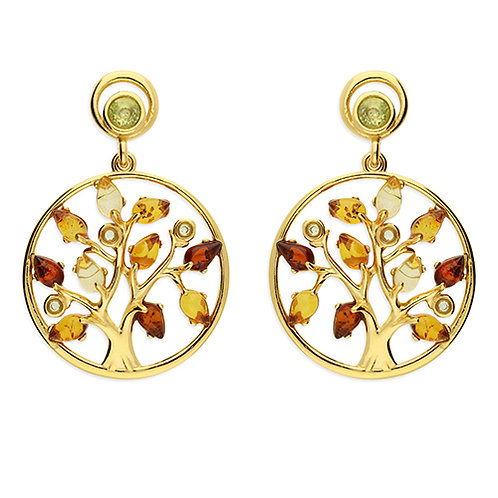 Yellow Gold Amber Tree of Life Earrings
