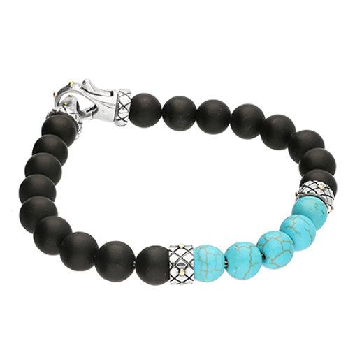 Turquoise & Black Onyx Men's Bead Bracelet