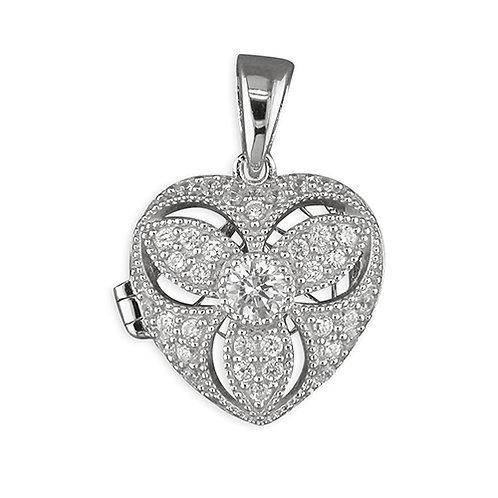 Silver Heart CZ Vintage Locket