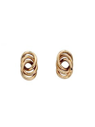 9ct Yellow Gold Interlinked Circle Stud Earrings