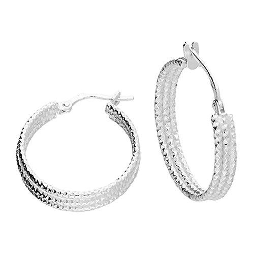 Sterling Silver 21mm diamond cut hoops