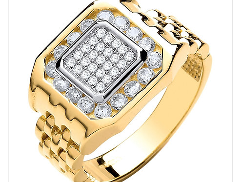 9ct Yellow Gold CZ Panther Link Ring