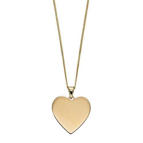9ct Yellow Gold Engravable Heart Pendant Necklace