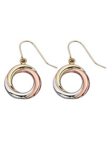 9ct Yellow White & Rose Gold Tricolour Circle Drop Earrings