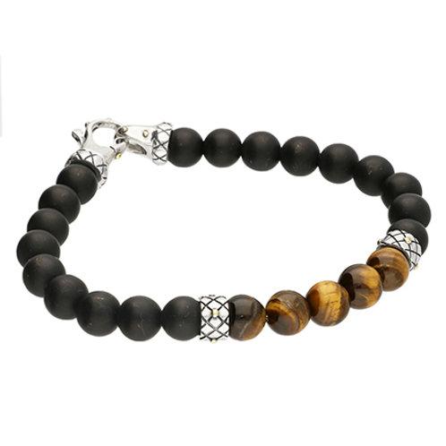 Tiger's Eye & Onyx Men's Bead Bracelet