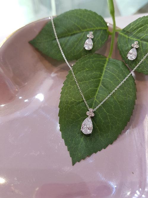 Sterling Silver Pear CZ Earrings & Necklace Set