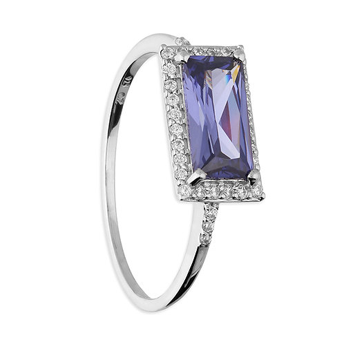 Silver & Tanzanite CZ Halo Ring