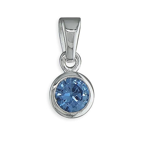 December Birthstone Blue Zircon CZ Necklace