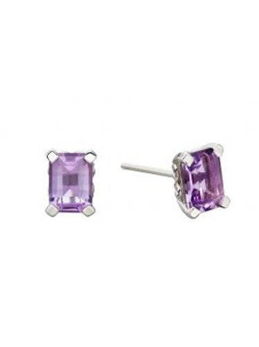 9ct White Gold Brazilian Amethyst Stud Earrings