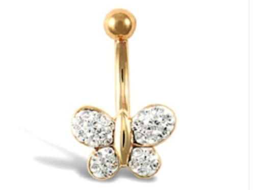 9ct Yellow Gold Butterfly CZ Belly Bar