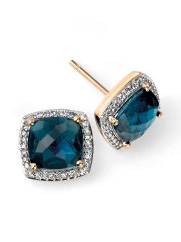 9ct Yellow Gold London Blue Topaz & Diamond Earrings