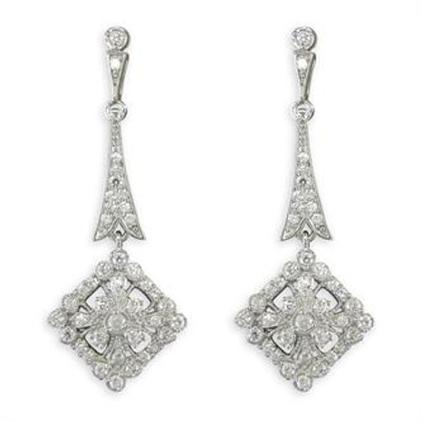 Silver Ornate Vintage Cubic Zirconia Drop Earrings