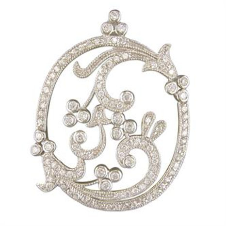 Silver Vintage Fancy Cubic Zirconia Pendant Necklace