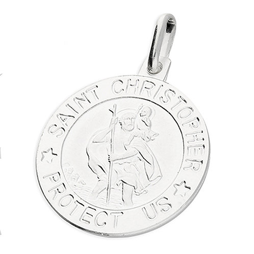 Sterling Silver St Christopher 18mm round