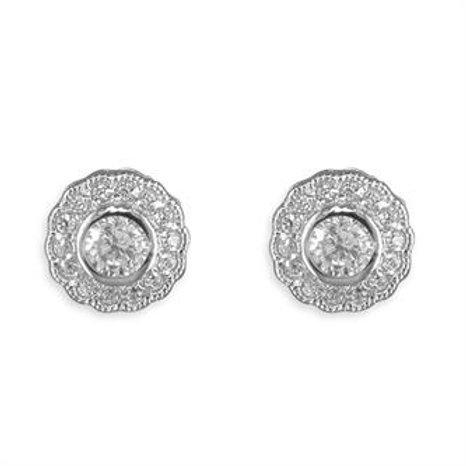 Silver Vintage Cubic Zirconia Cluster Stud Earrings