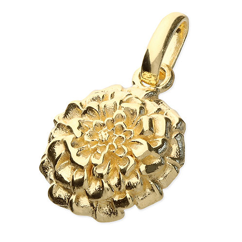 October Birthday Gold Marigold Flower Pendant Necklace