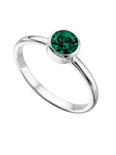 Silver Emerald Swarovski Crystal Birthstone Ring