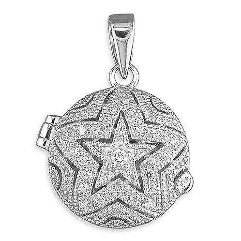 Silver Star CZ Encrusted Locket