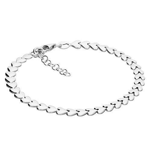 Silver Interlocked Hearts Bracelet