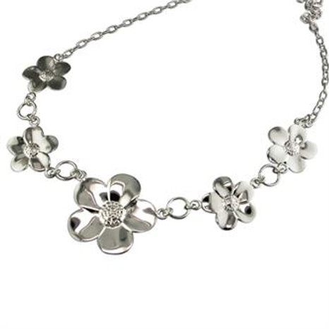 Silver Large Flower Statement Necklace