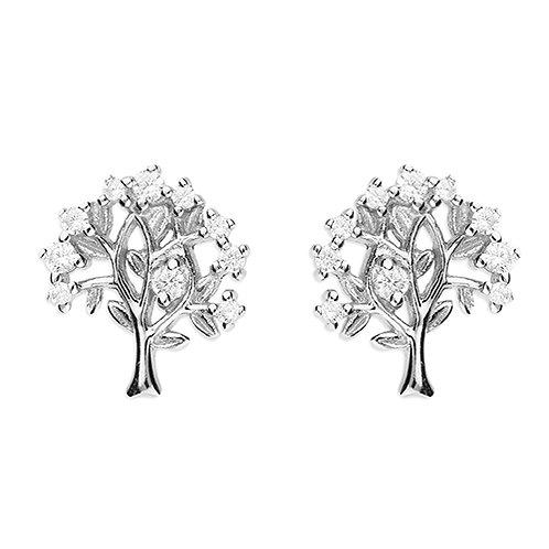 Silver Cubic Zirconia Tree of Life Earrings